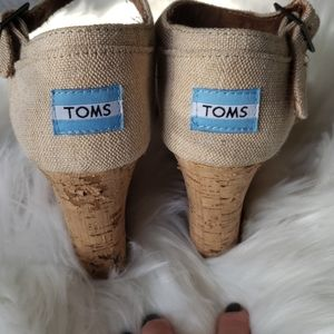 Tom's Cork and Canvas Wedges